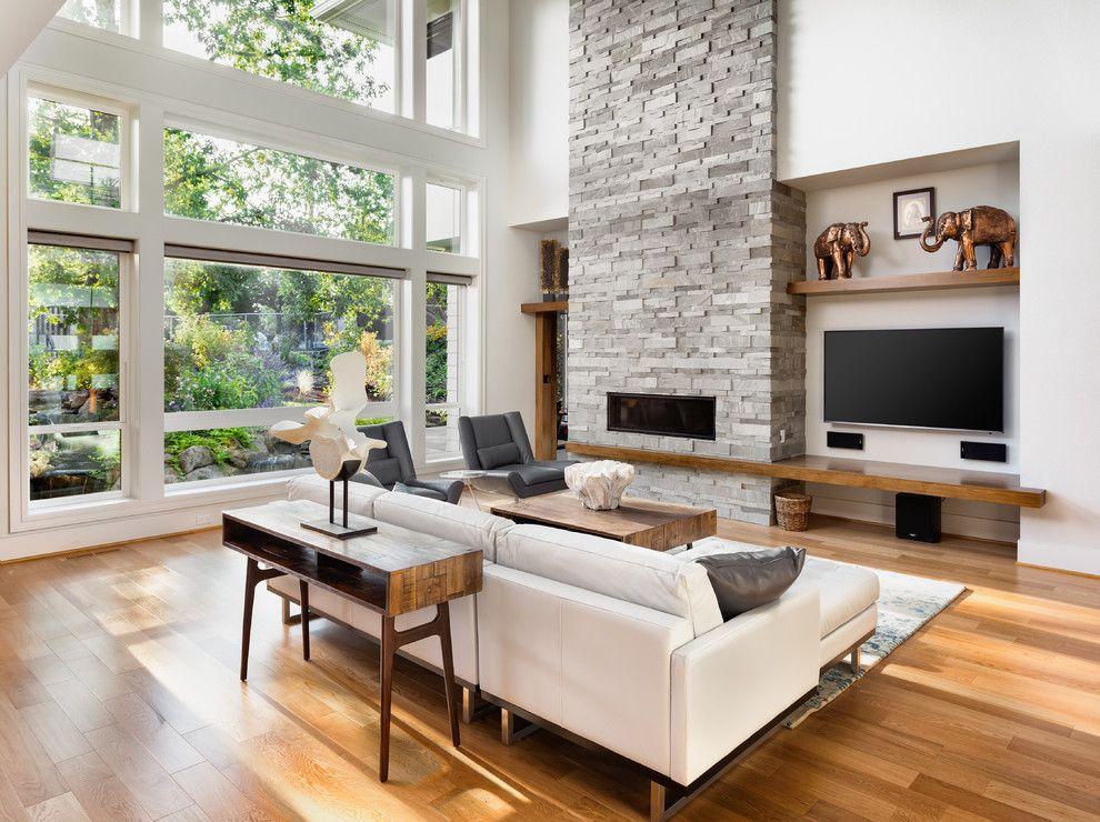 thiết kế phòng khách với lò sưởi