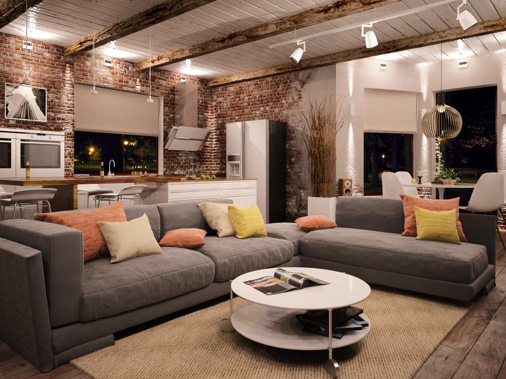 phong cách gác xép trong thiết kế phòng khách