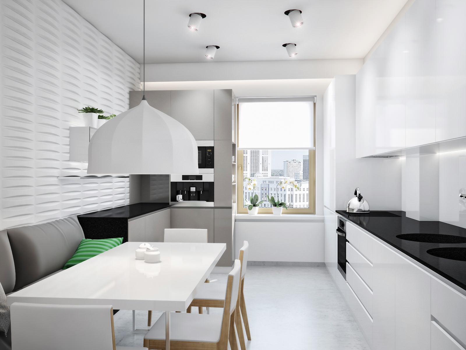 bucătărie mare minimalistă