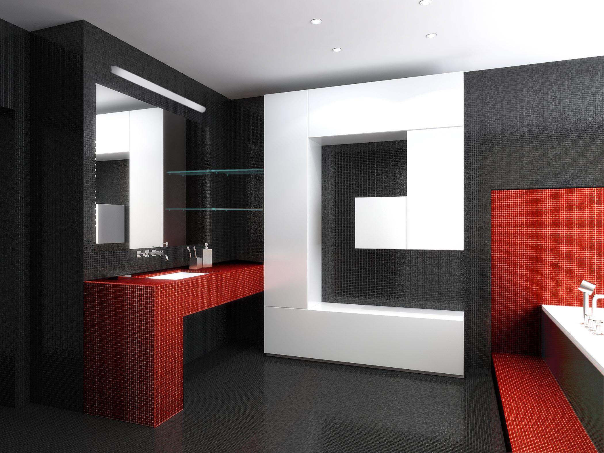Salle de bain en noir et blanc diluée en rouge