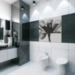 Salle de bain noir et blanc avec douche en verre foncé
