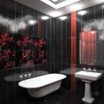 Salle de bain noir et blanc avec éléments rouges