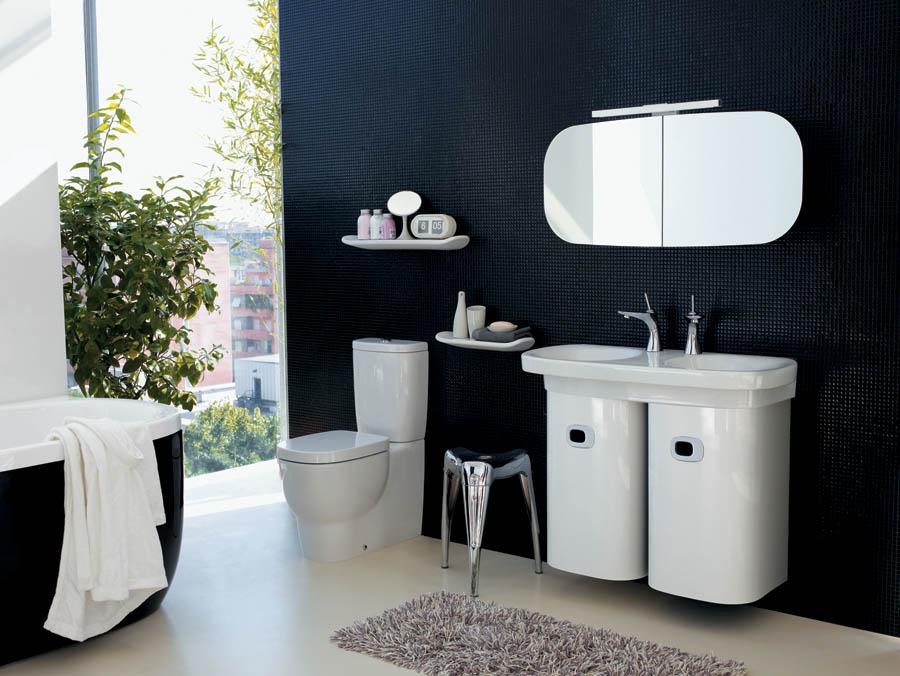 Salle de bain exquise en noir et blanc