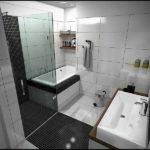 Salle de bain design noir et blanc pratique