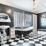 Salle de bain en damier damier noir et blanc