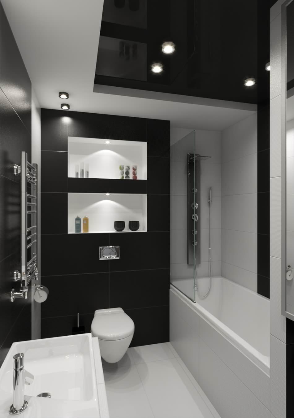Salle de bain haut plafond noir et blanc