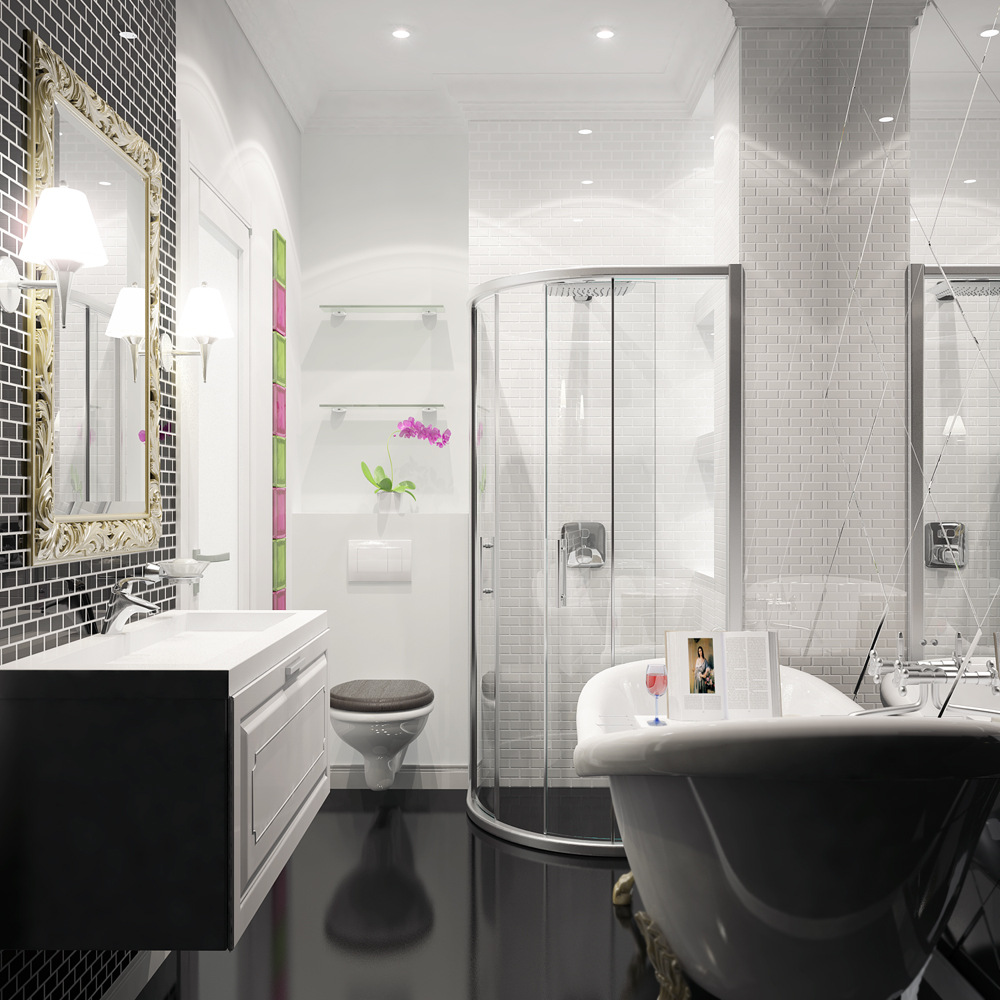 Salle de bain en noir et blanc avec éléments en verre.