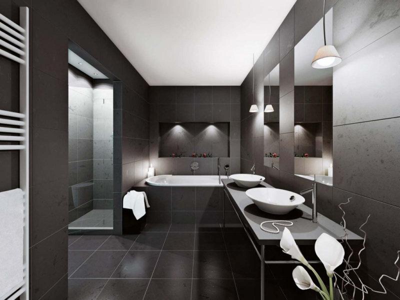 La salle de bain en noir et blanc nécessite des soins