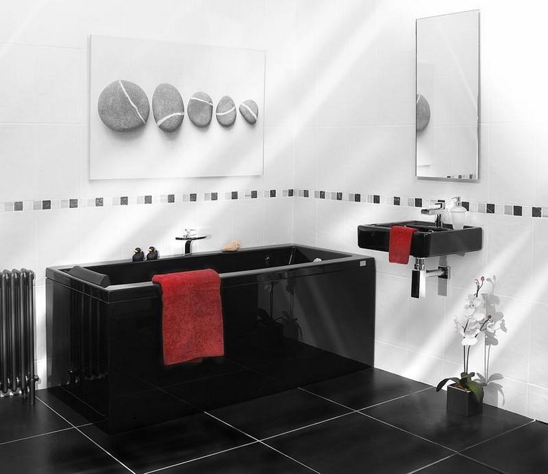 Salle de bain noir et blanc en plomberie noire