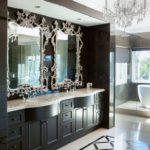 Salle de bain éclectique en noir et blanc