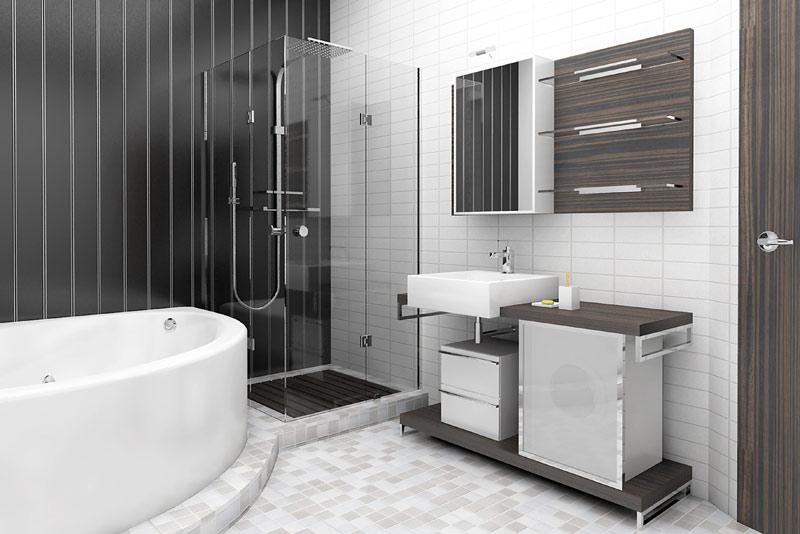 Salle de bain tons neutres noir et blanc