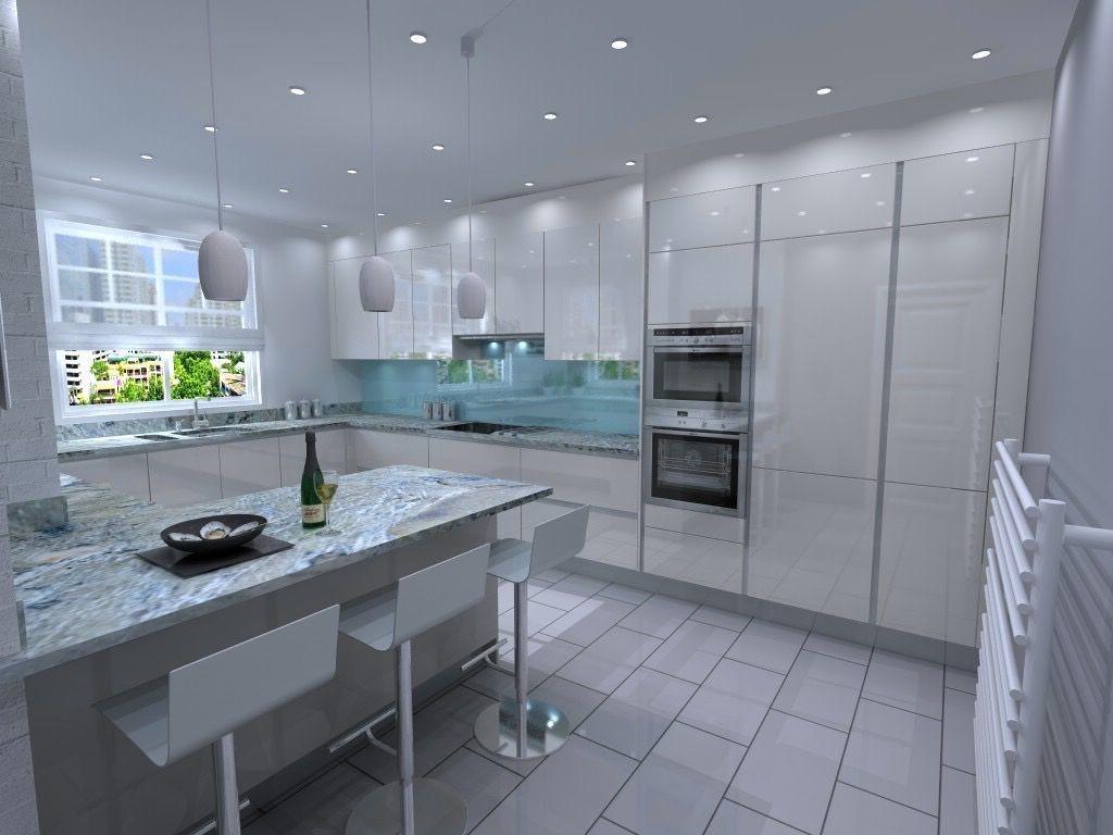 iluminarea într-o bucătărie mare