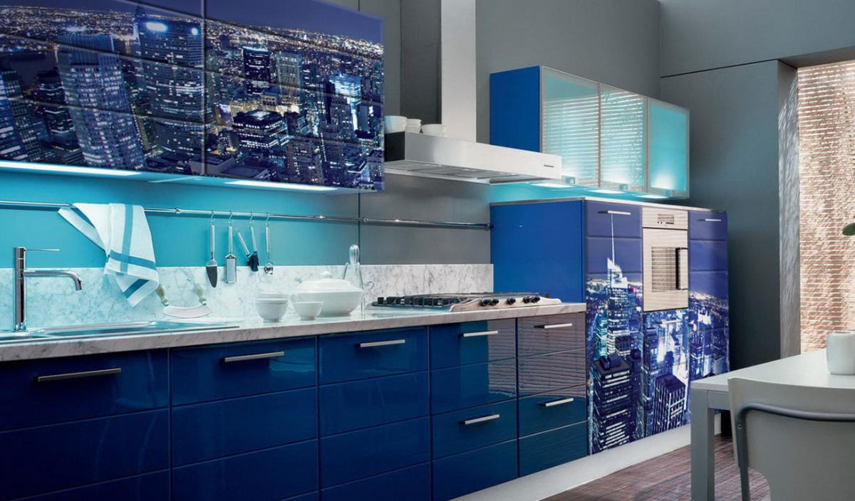 set albastru de bucătărie