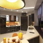 design al unei bucătării mari cu un set negru