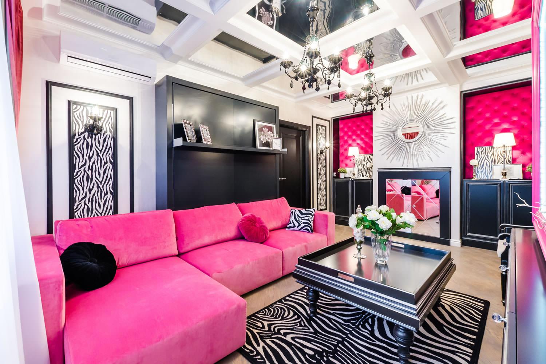thiết kế phòng khách màu hồng