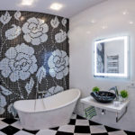 Conception de salle de bain transition douce du noir au blanc