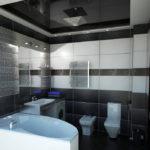 Conception d'une salle de bain avec un plafond tendu noir