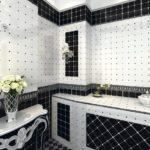 Conception de salle de bain de style art déco noir et blanc