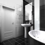 Conception de salle de bain high-tech en noir et blanc brillant