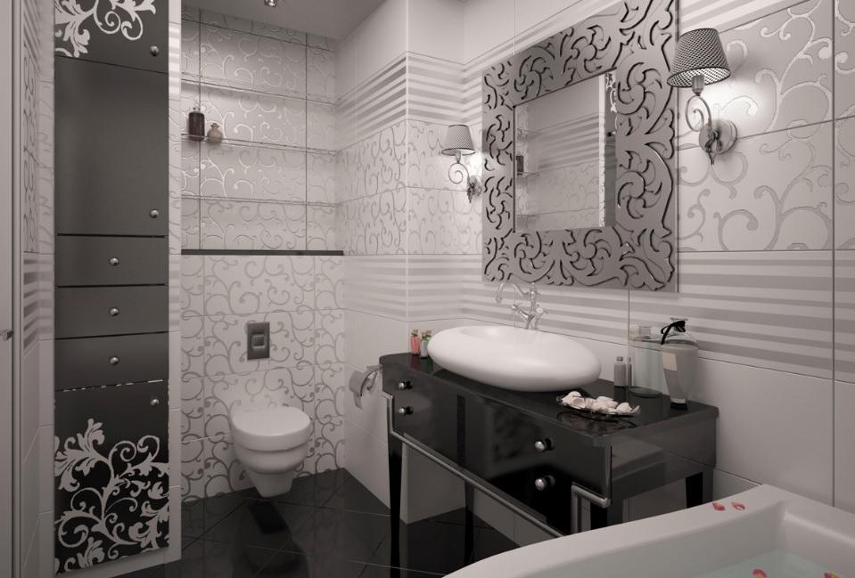 Salle de bain Art Déco noir et blanc