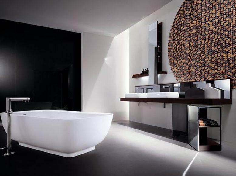 Salle de bain hi-tech noir et blanc