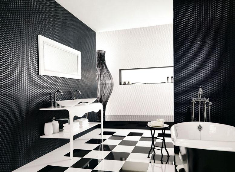Salle de bain moderne en noir et blanc