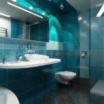 conception d'une salle de bain avec WC aux couleurs turquoise