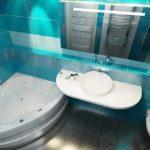 conception d'une salle de bain combinée avec des toilettes de style marin