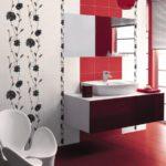 design rouge-blanc de la salle de bain combiné avec les toilettes