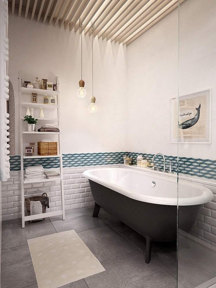 Salle de bain en granit blanc style scandinave