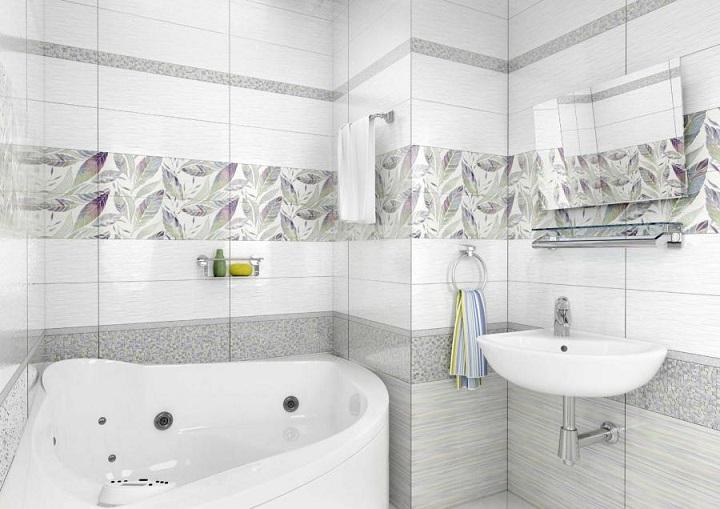 Carrelage en céramique blanc pour salle de bain à motif