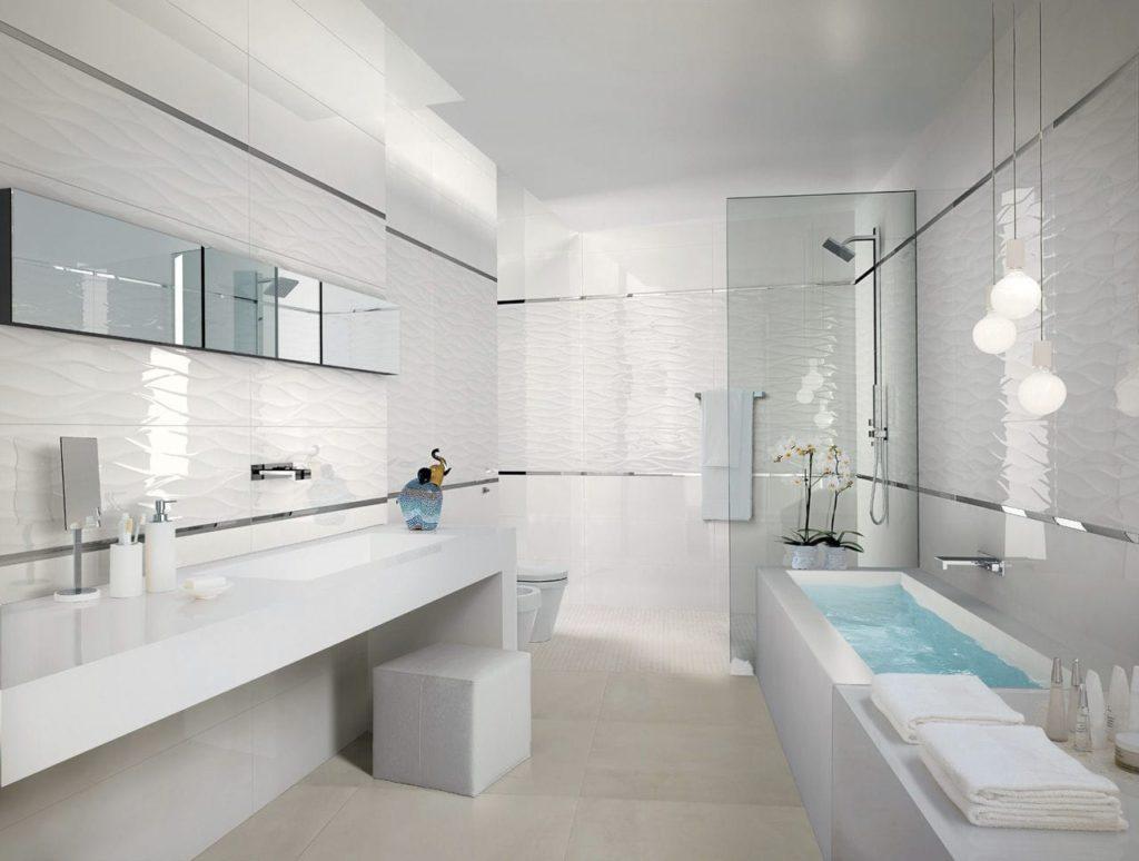 Grès cérame blanc pour salle de bain