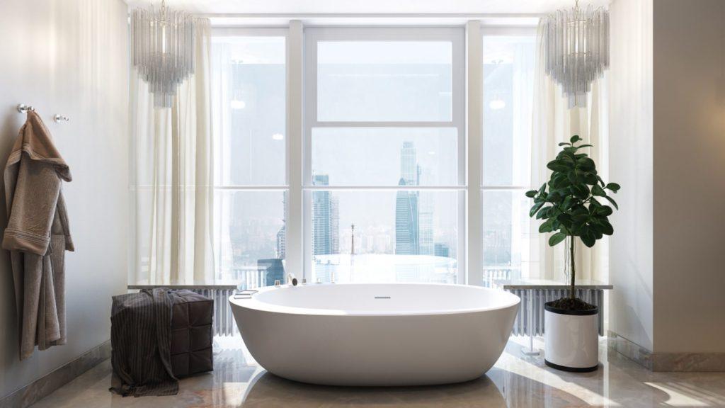 Salle de bain en marbre blanc au sol
