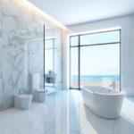 Minimalisme en marbre blanc pour salle de bain