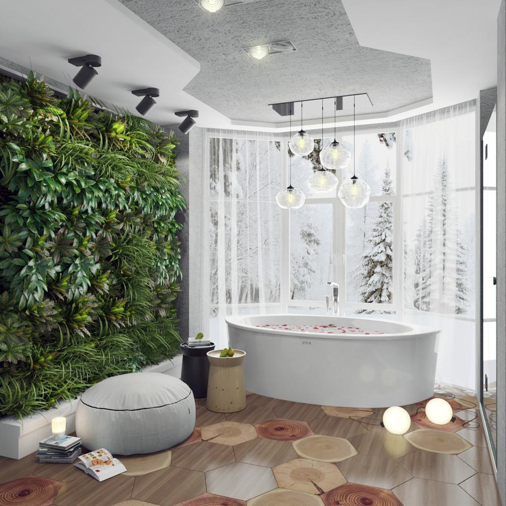 Salle de bain de style éco blanc avec des plantes
