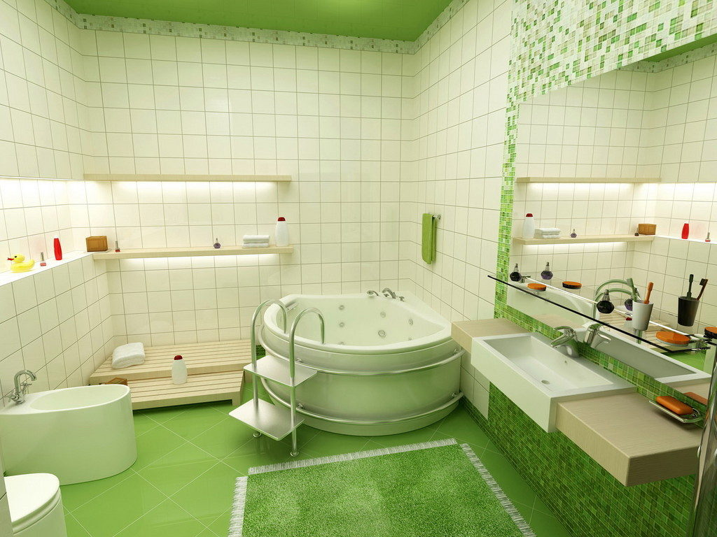 Salle de bain blanche style éco vert