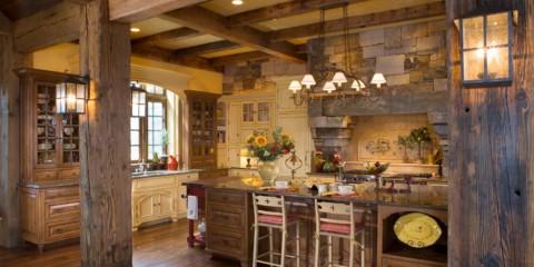 piatră decorativă în decorarea bucătăriei țării