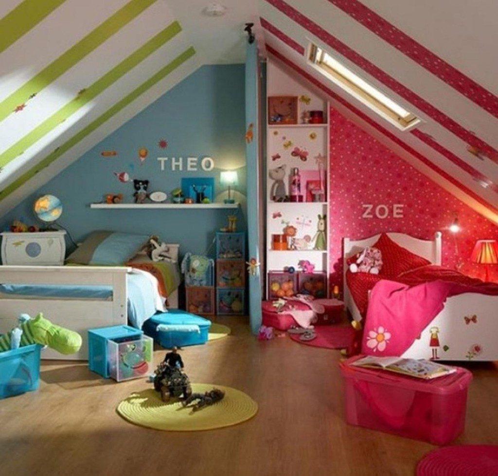 Conception d'une chambre d'enfant pour deux accessoires pour enfants hétérosexuels