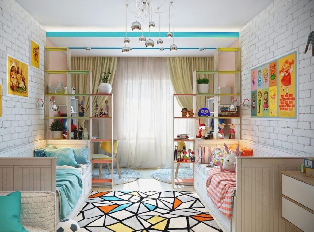 Conception d'une chambre d'enfant pour deux enfants hétérosexuels palette de couleurs