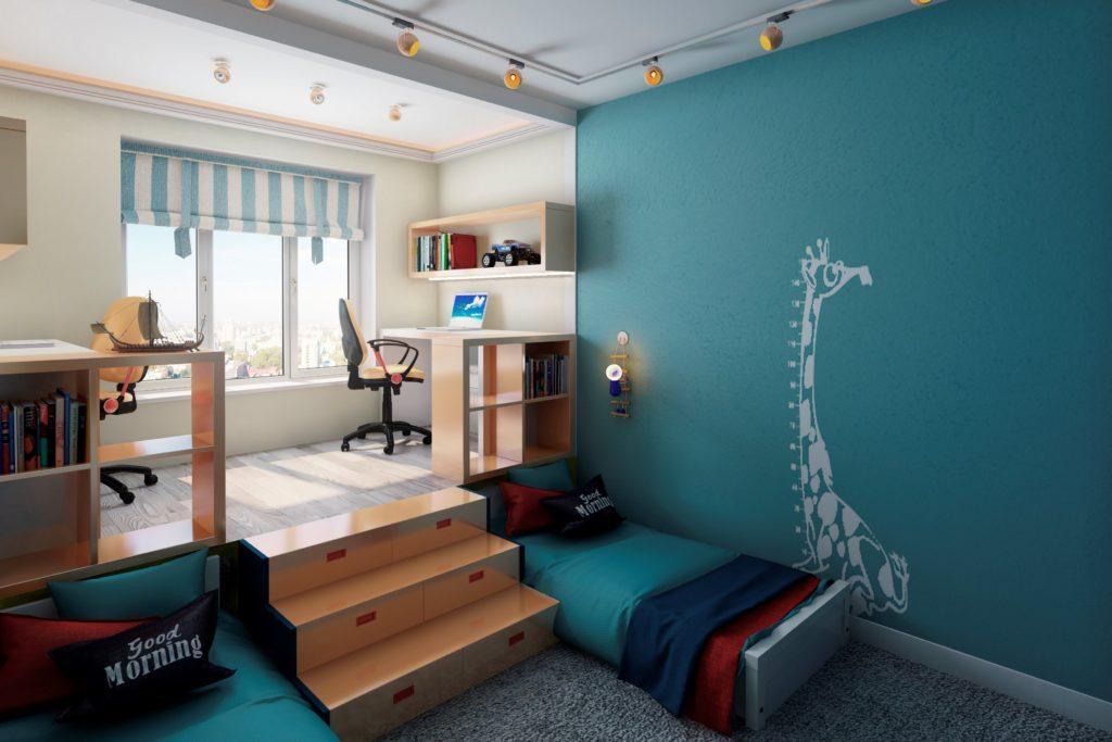 Conception d'une chambre d'enfant pour deux enfants hétérosexuels Lit sous la passerelle.
