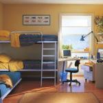 Conception d'une chambre d'enfant pour deux enfants hétérosexuels lit en métal à deux niveaux