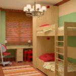 Conception d'une chambre d'enfants pour deux enfants hétérosexuels plus jeunes et plus âgés