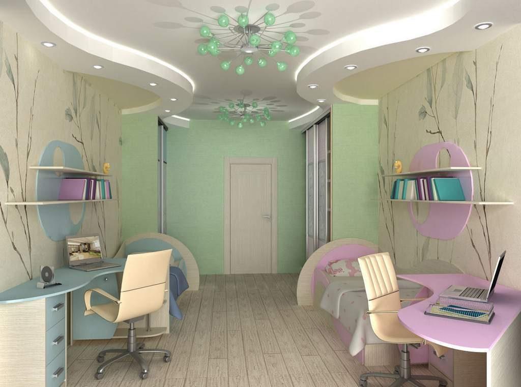 Conception d'une chambre pour enfants pour deux enfants hétérosexuels; zones d'étude séparées