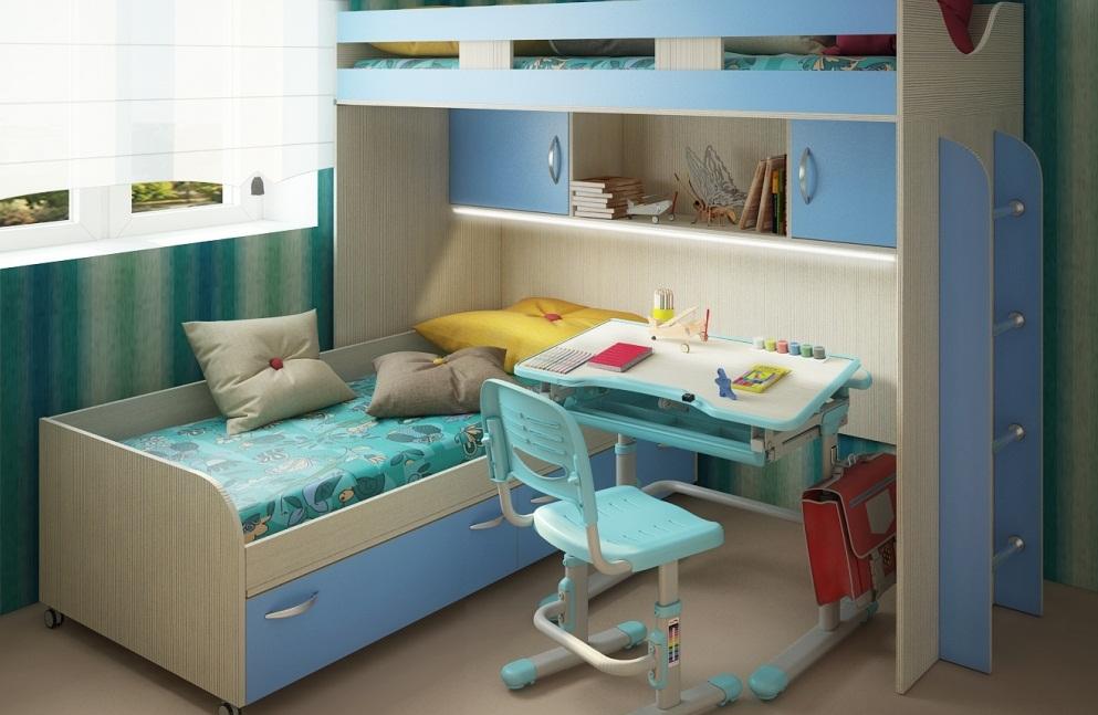 Conception d'une chambre d'enfant pour deux enfants hétérosexuels