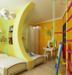 Conception d'une chambre d'enfants pour deux enfants hétérosexuels, d'une cloison et d'un mur suédois