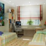 Conception d'une chambre d'enfants pour deux enfants hétérosexuels avec une table commune
