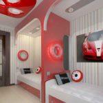 Conception d'une chambre d'enfants pour deux enfants hétérosexuels avec une palette de séparation rouge-blanc