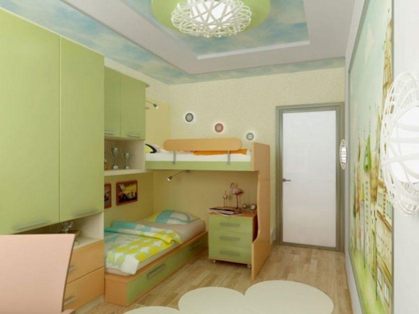 Conception d'une chambre d'enfant pour deux enfants hétérosexuels, couleurs claires.