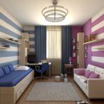 Conception d'une chambre d'enfants pour deux enfants hétérosexuels sur des murs différents