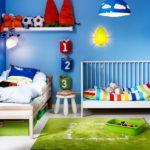 Conception d'une chambre d'enfant pour deux enfants hétérosexuels en option coin